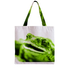 Green Frog Zipper Grocery Tote Bags