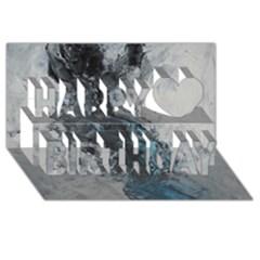 Ghostly Fog Happy Birthday 3d Greeting Card (8x4)