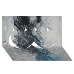 Ghostly Fog Twin Hearts 3D Greeting Card (8x4)