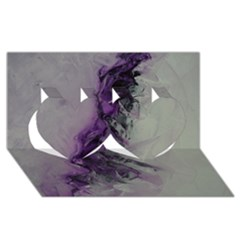 The Power Of Purple Twin Hearts 3D Greeting Card (8x4)