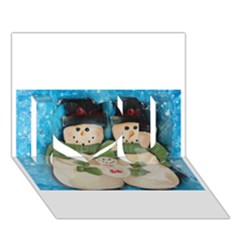 Snowman Family I Love You 3d Greeting Card (7x5)