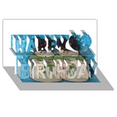 Snowman Family Happy Birthday 3D Greeting Card (8x4)