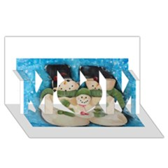 Snowman Family MOM 3D Greeting Card (8x4)