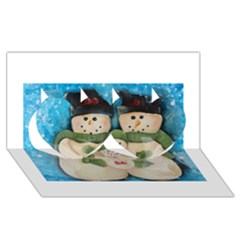 Snowman Family Twin Hearts 3D Greeting Card (8x4)