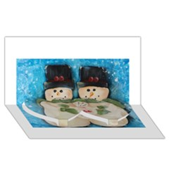 Snowman Family Twin Heart Bottom 3D Greeting Card (8x4)