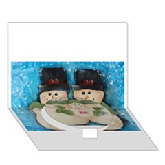 Snowman Family Circle Bottom 3D Greeting Card (7x5)