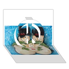 Snowman Family Peace Sign 3d Greeting Card (7x5)