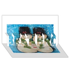 Snowman Family BEST BRO 3D Greeting Card (8x4)
