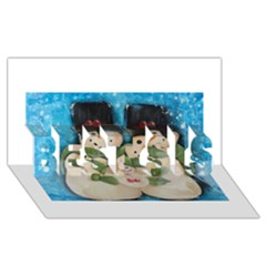 Snowman Family BEST SIS 3D Greeting Card (8x4)