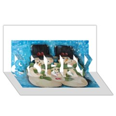 Snowman Family SORRY 3D Greeting Card (8x4)