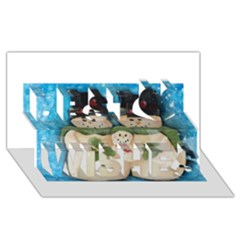 Snowman Family Best Wish 3d Greeting Card (8x4)