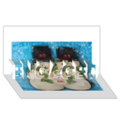 Snowman Family Engaged 3d Greeting Card (8x4)