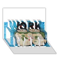 Snowman Family WORK HARD 3D Greeting Card (7x5)