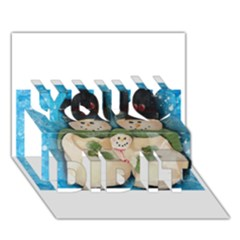 Snowman Family You Did It 3d Greeting Card (7x5)