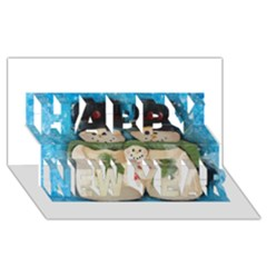 Snowman Family Happy New Year 3D Greeting Card (8x4)