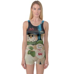 Snowman Family Women s Boyleg One Piece Swimsuits