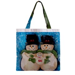 Snowman Family Zipper Grocery Tote Bags