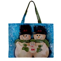 Snowman Family Zipper Tiny Tote Bags