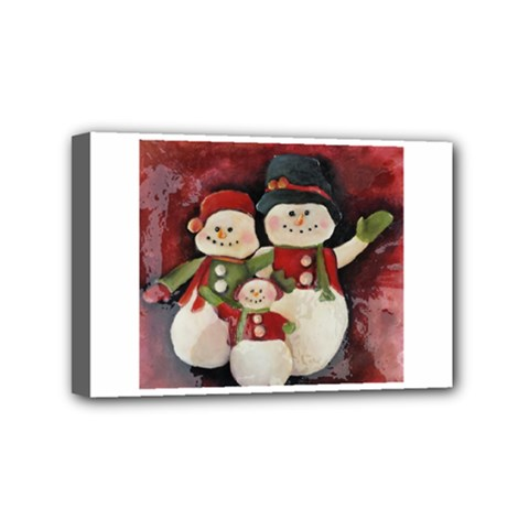 Snowman Family No  2 Mini Canvas 6  X 4