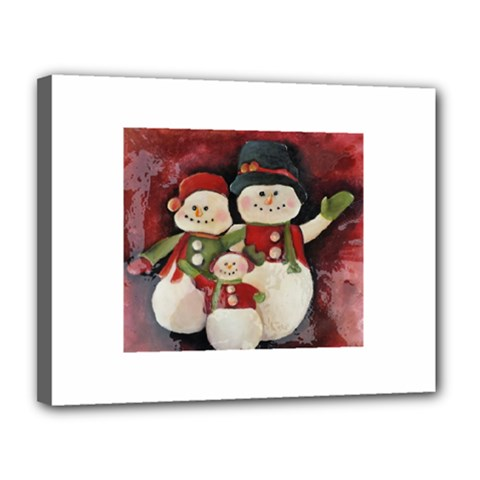 Snowman Family No  2 Canvas 14  X 11