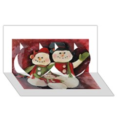 Snowman Family No  2 Twin Hearts 3d Greeting Card (8x4)