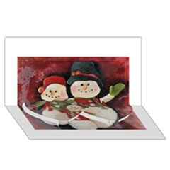 Snowman Family No. 2 Twin Heart Bottom 3D Greeting Card (8x4)