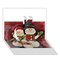 Snowman Family No. 2 Apple 3D Greeting Card (7x5)