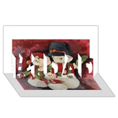 Snowman Family No. 2 #1 DAD 3D Greeting Card (8x4)