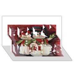 Snowman Family No. 2 Best Wish 3D Greeting Card (8x4)