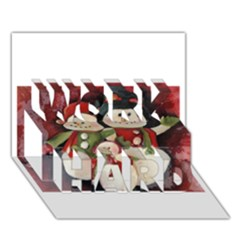 Snowman Family No. 2 WORK HARD 3D Greeting Card (7x5)
