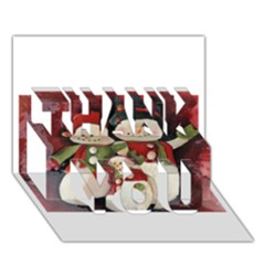 Snowman Family No  2 Thank You 3d Greeting Card (7x5)