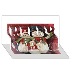Snowman Family No. 2 Merry Xmas 3D Greeting Card (8x4)