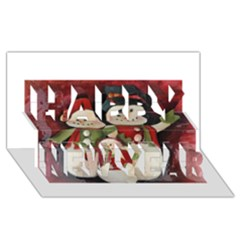 Snowman Family No. 2 Happy New Year 3D Greeting Card (8x4)