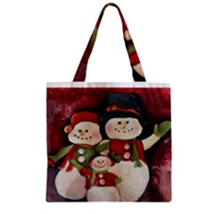 Snowman Family No. 2 Zipper Grocery Tote Bags