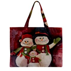 Snowman Family No. 2 Zipper Tiny Tote Bags