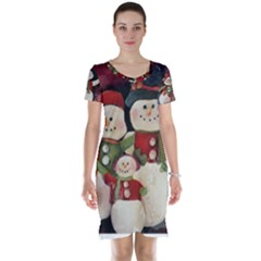 Snowman Family No  2 Short Sleeve Nightdresses