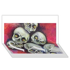 Halloween Skulls No 1 Twin Heart Bottom 3d Greeting Card (8x4)