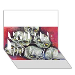 Halloween Skulls No 1 You Are Invited 3d Greeting Card (7x5)