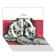 Halloween Skulls No.1 Peace Sign 3D Greeting Card (7x5)