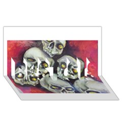 Halloween Skulls No 1 Best Sis 3d Greeting Card (8x4)