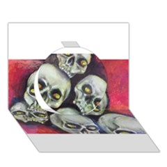 Halloween Skulls No 1 Circle 3d Greeting Card (7x5)