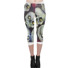 Halloween Skulls No.1 Capri Leggings