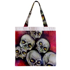 Halloween Skulls No.1 Zipper Grocery Tote Bags