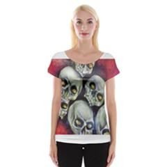 Halloween Skulls No.1 Women s Cap Sleeve Top