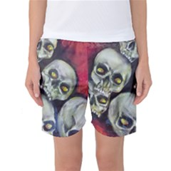 Halloween Skulls No 1 Women s Basketball Shorts