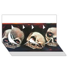 Halloween Skulls No. 2 Twin Hearts 3D Greeting Card (8x4)