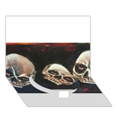 Halloween Skulls No  2 Circle Bottom 3d Greeting Card (7x5)