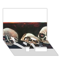 Halloween Skulls No. 2 LOVE Bottom 3D Greeting Card (7x5)