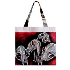 Halloween Skulls No. 3 Zipper Grocery Tote Bags