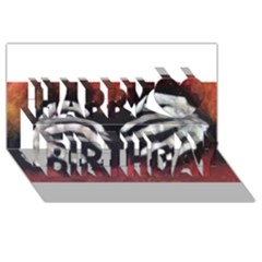 Halloween Bones Happy Birthday 3d Greeting Card (8x4)